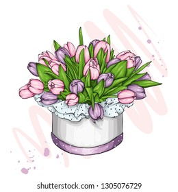 Box with a bouquet of tulips. Spring and flowers. March 8. Vector illustration for postcard or poster, print.