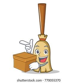 With box broom character cartoon style