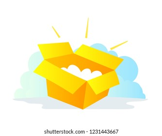 Box by mail package icon. Delivery service post office. The premium account.
