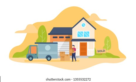 Box Car Loading Boxes, Man lifting box moving home concept vectorillustration, Illustration for wallpaper, background, card, flyer, landing page, property advertisement. resolution 1920x1080