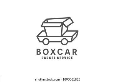 Box Car Parcel Delivery Logo Design Template