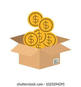 box carton with coins money isolated icon