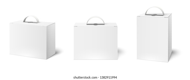 Box case with handle. Package boxes mockup, blank white packaging handles and cardboard product packing 3d vector illustration set