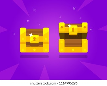 Box chests for game. Dower chests on white background. Locked and Empty dower chest.  Vector illustration