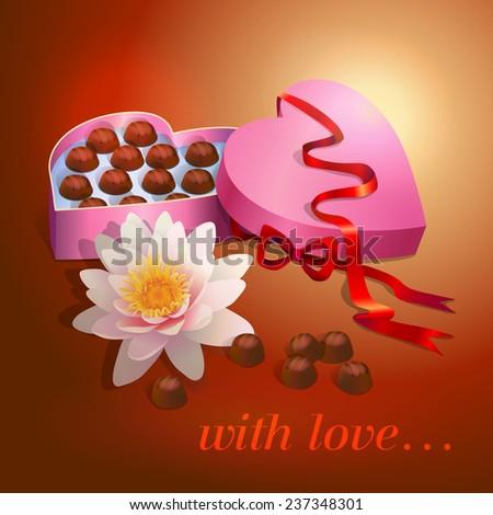 Box Chocolates Heart Shape Gift Ribbon Stock Vector Royalty Free