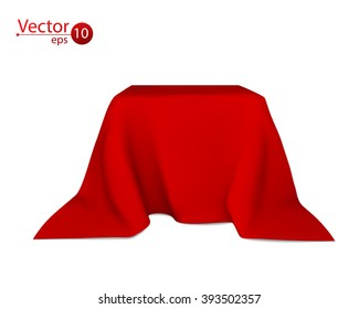 Box covered with red cloth. Vector.