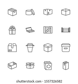 Box and Crates, Package outline icons set - Black symbol on white background. Box and Crates, Package Simple Illustration Symbol - lined simplicity Sign. Flat Vector thin line Icon - editable stroke