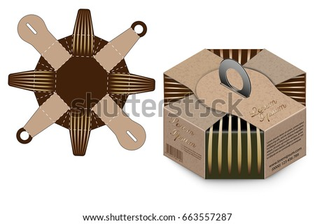 box design container diestamping folding folded stock vector