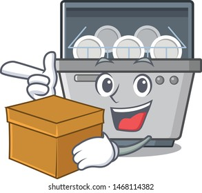 With box dishwasher machine isolated in the cartoon