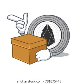 With box EOS coin character cartoon