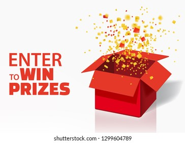 Box Exploision, Blast. Open Red Gift Box and Confetti. Enter to Win Prizes. Win, lottery, quiz. Vector Illustration. Isolated, Template