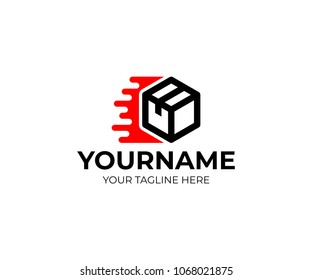 Box and fast delivery of cargoes and trucking, logo template. Cargo transportation and delivery of goods, vector design. Urgent transportation of goods and purchases in internet online, illustration