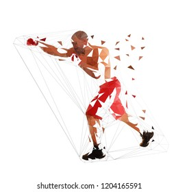 Box fighter punch, isolated low polygonal illustration. Geometric fighter, side view