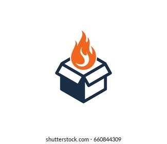 Box Fire Icon Logo Design Element