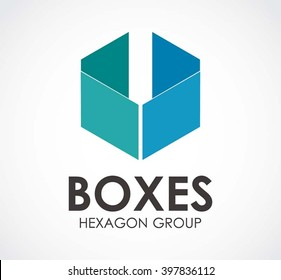 Box flat of hexagon abstract vector and logo design or template square business icon of company identity symbol concept