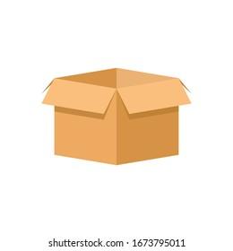 Box flat icon isolated on white background. Vector illustration. Eps 10.