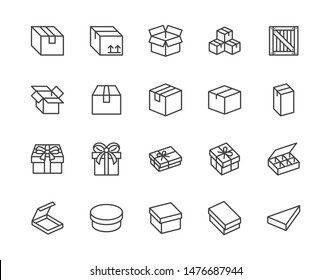 Box flat line icon set. Carton, wood boxes, product package, gift vector illustrations. Simple outline signs for delivery service. Pixel perfect. Editable Strokes.