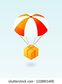 Box flying on parachute icon. Air shipping. Clipart image