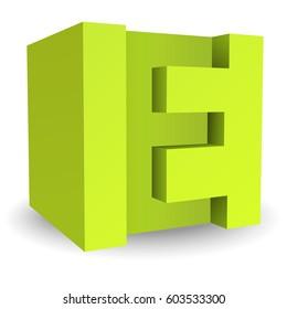 Box font E color green 3D style.