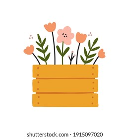 Box of Gardening tools Planting and growing element Wooden box with spring flowers bouquet illustration