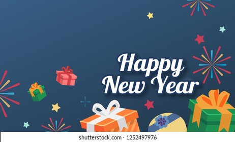The box gift flat style bg star with text happy new year Card version