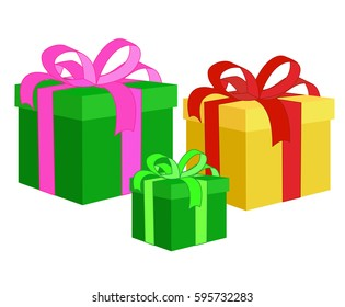 Box for gifts. Set. Vector illustration isolated on white background.