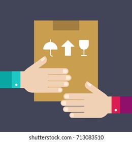 Box from hand to hand. Vector illustration concept for very fast delivery service.