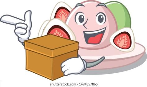 With box ichigo daifuku with the cartoon shape