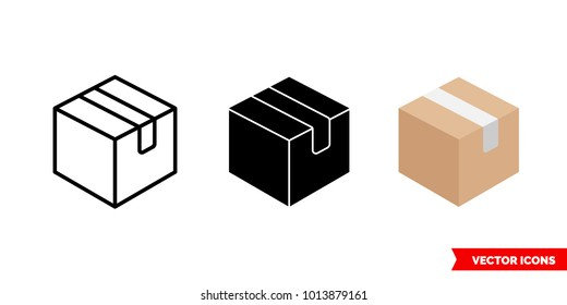 Box icon of 3 types: color, black and white, outline. Isolated vector sign symbol.