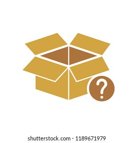 Box icon, delivery and shipping, open package, unbox icon with question mark. Box icon and help, how to, info, query symbol. Vector