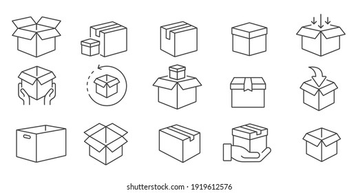 Box icon set in line style, delivery box, Package, export boxes, cargo box, return parcel, gift box, open package, Shipment of goods, vector illustration
