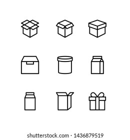 Box icon set in thin line style vector image.Cardboard packaging boxes