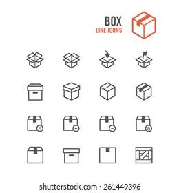 Box icon set. Vector illustration.