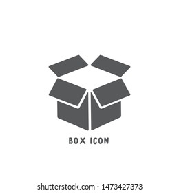 Box icon simple silhouette flat style vector illustration on white background.