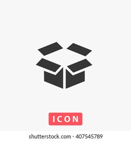 box Icon vector. Simple flat symbol. Perfect Black pictogram illustration on white background.