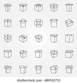 Box icons set. Vector cardboard boxes and packages thin line symbols or logo elements
