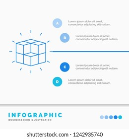 box, labyrinth, puzzle, solution, cube Infographics Template for Website and Presentation. Line Blue icon infographic style vector illustration