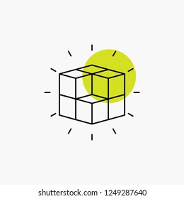 box, labyrinth, puzzle, solution, cube Line Icon