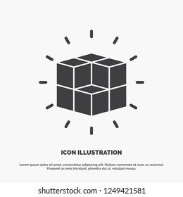 box, labyrinth, puzzle, solution, cube Icon. glyph vector gray symbol for UI and UX, website or mobile application