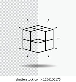 box, labyrinth, puzzle, solution, cube Line Icon on Transparent Background. Black Icon Vector Illustration
