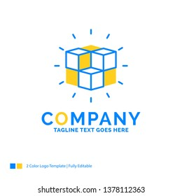box, labyrinth, puzzle, solution, cube Blue Yellow Business Logo template. Creative Design Template Place for Tagline.
