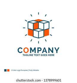box, labyrinth, puzzle, solution, cube Logo Design. Blue and Orange Brand Name Design. Place for Tagline. Business Logo template.