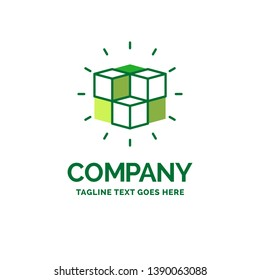 box, labyrinth, puzzle, solution, cube Flat Business Logo template. Creative Green Brand Name Design.