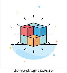 box, labyrinth, puzzle, solution. cube Flat Color Icon Vector.