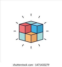 box, labyrinth, puzzle, solution, cube Flat Color Icon Vector. Vector Icon Template background
