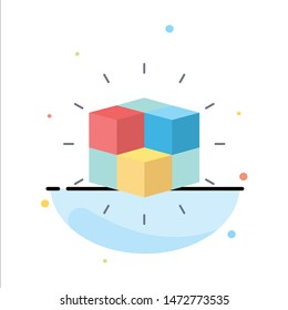 box, labyrinth, puzzle, solution, cube Flat Color Icon Vector