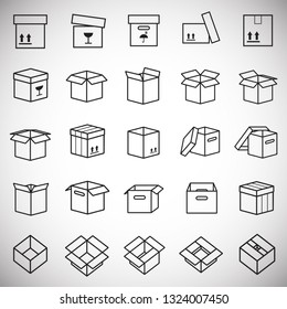 Box line icons set on white background for graphic and web design, Modern simple vector sign. Internet concept. Trendy symbol for website design web button or mobile app