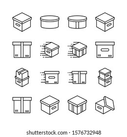 Box line icons set vector illustration. Open package, merchandise,  shiping, upload, carton, wood boxes, product. Simple outline signs for delivery service. Pixel perfect. Editable Strokes.