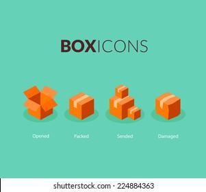 Box logo template, flat icons vector set