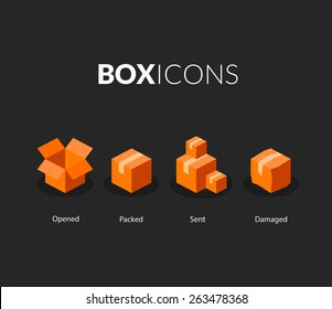 Box logo template, flat icons vector set